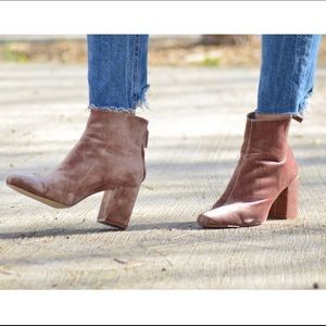 Blush suede heeled boots